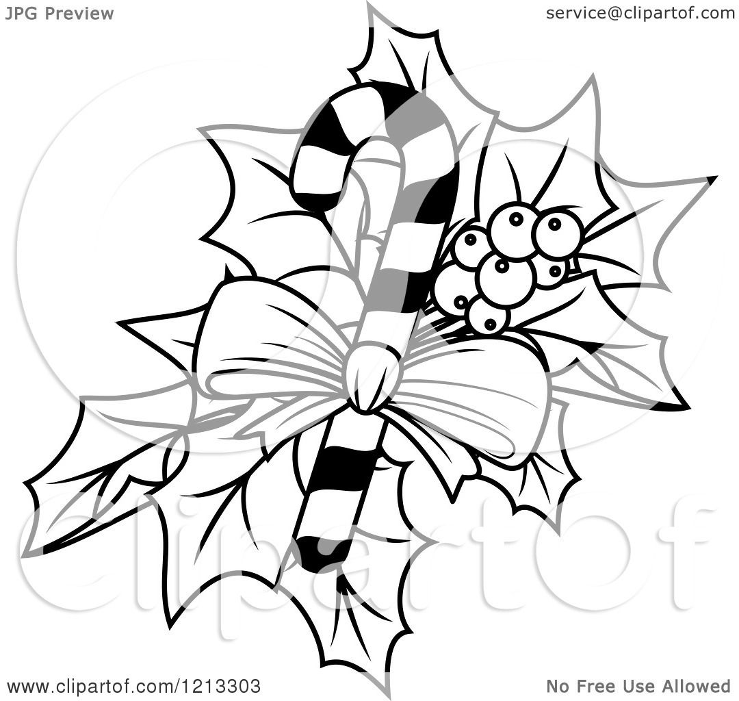 Clipart Of A Black And White Candy Cane With Christmas
