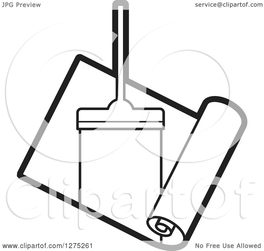 Clipart Of A Black And White Carpet Cleaner Leaving A