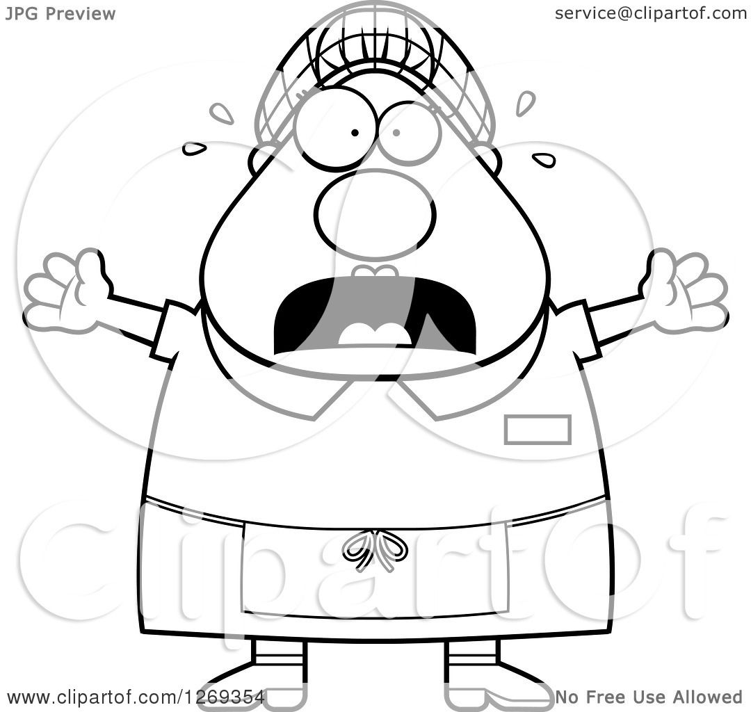 Clipart Of A Black And White Cartoon Chubby Scared