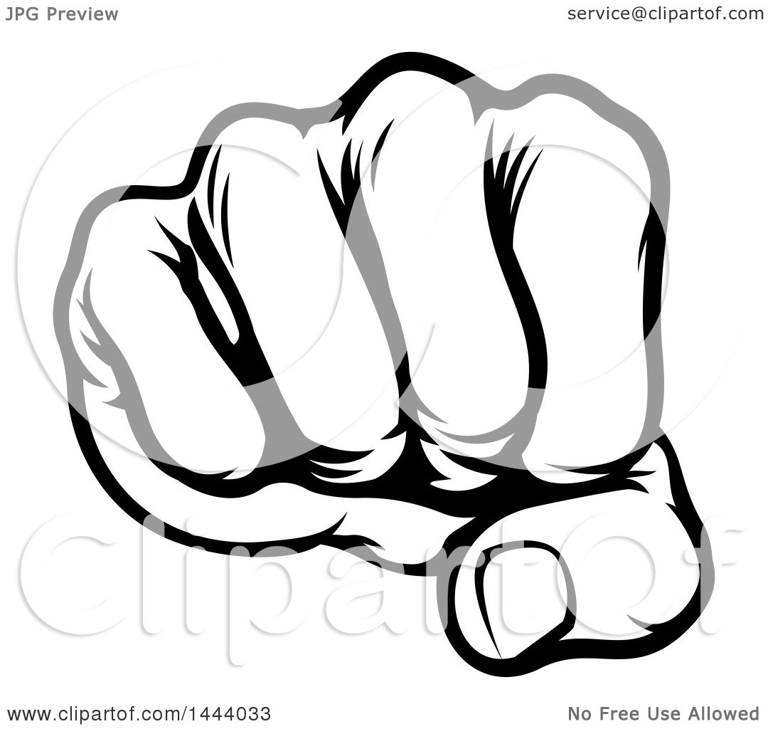 Clipart Of A Black And White Cartoon Fist Punching