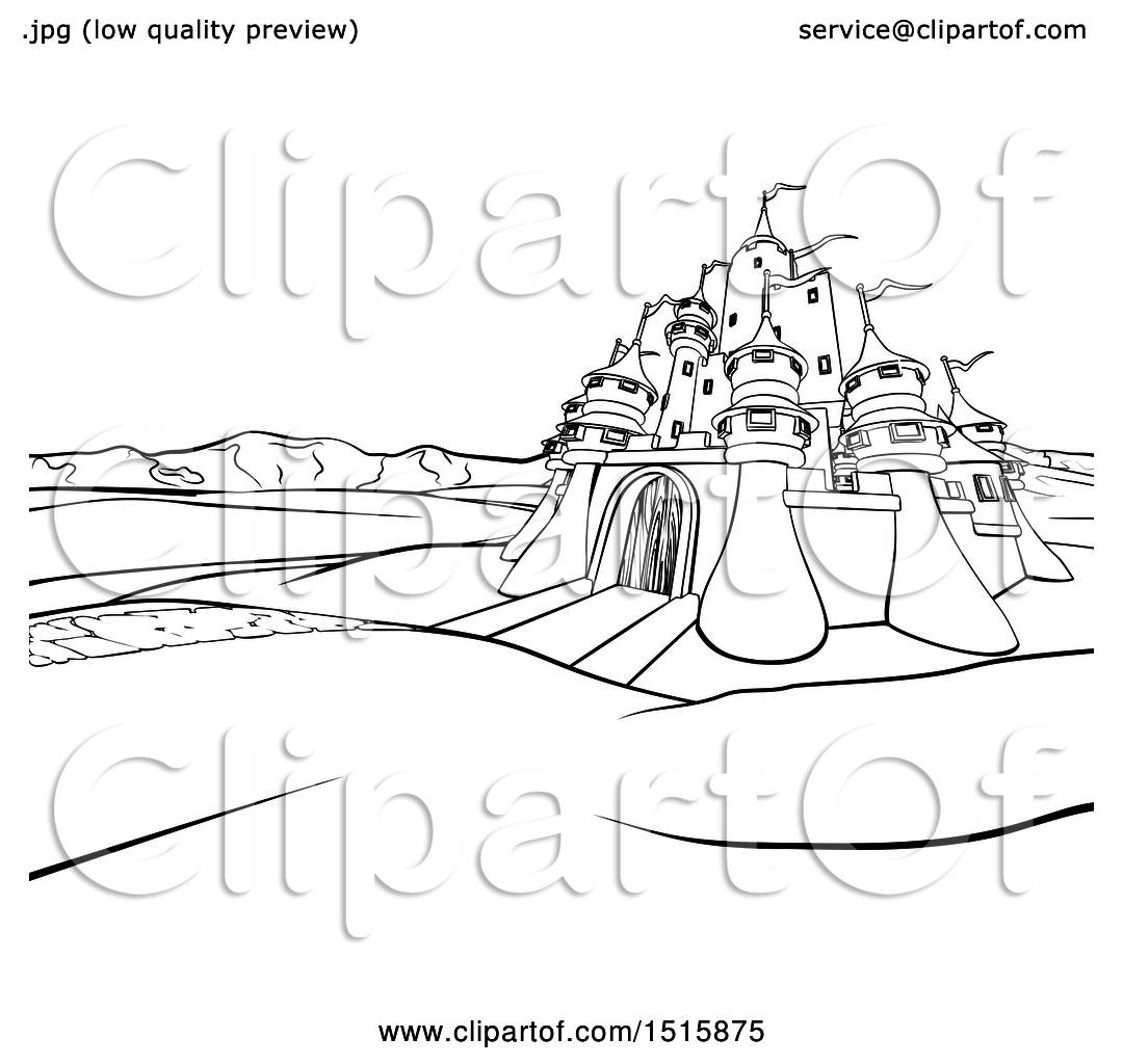 Clipart Of A Black And White Castle In A Landscape At