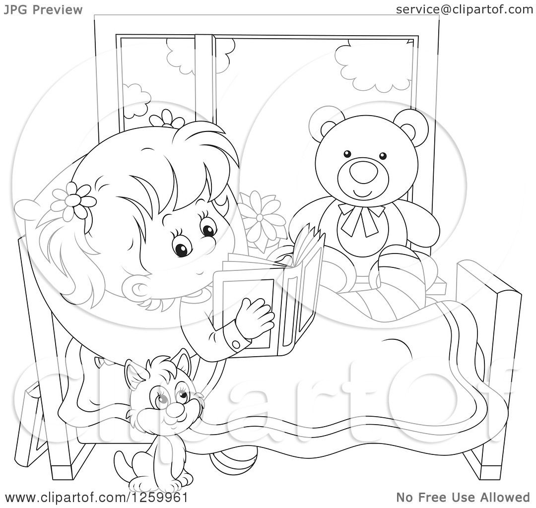 Clipart Of A Black And White Cat By A Girl Reading In Bed