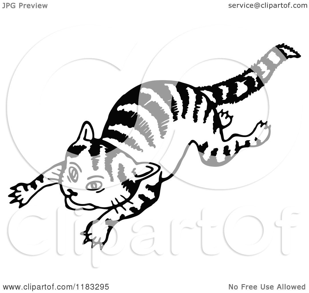 Clipart Of A Black And White Cat Jumping