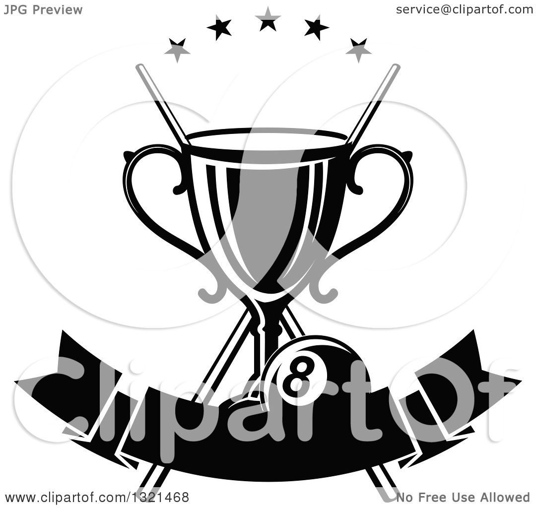 Clipart Of A Black And White Championship Trophy With