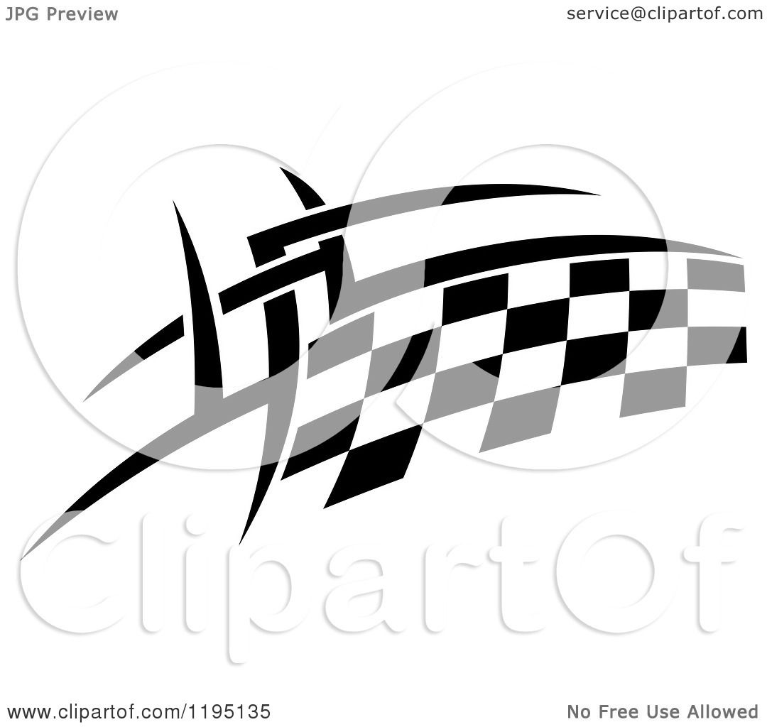 Clipart Of A Black And White Checkered Tribal Racing Flag