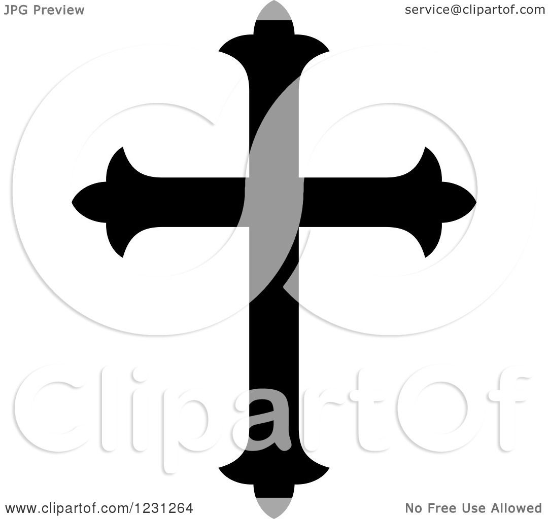 Clipart Of A Black And White Christian Cross 21