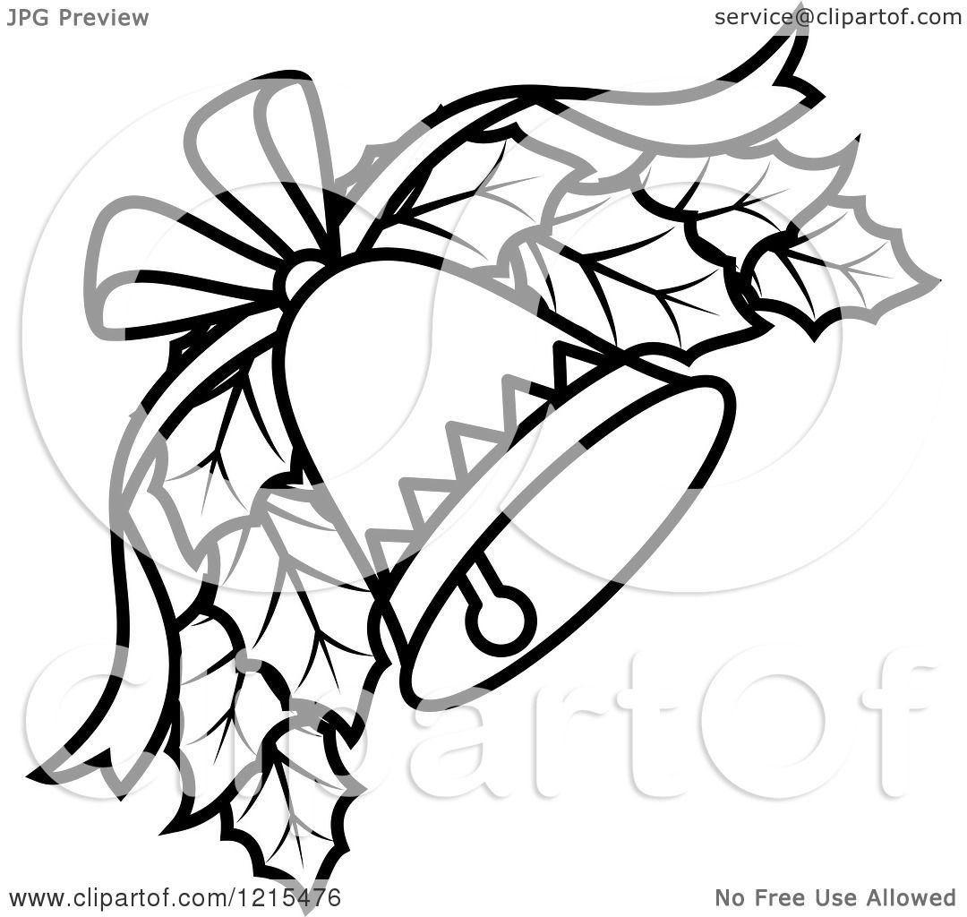 Clipart Of A Black And White Christmas Bell With Holly