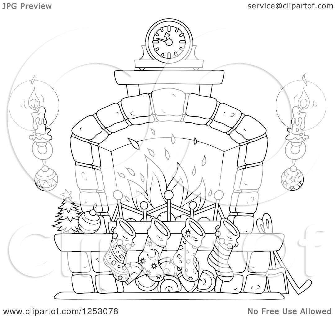 Clipart Of A Black And White Christmas Fireplace With Candles And Stockings