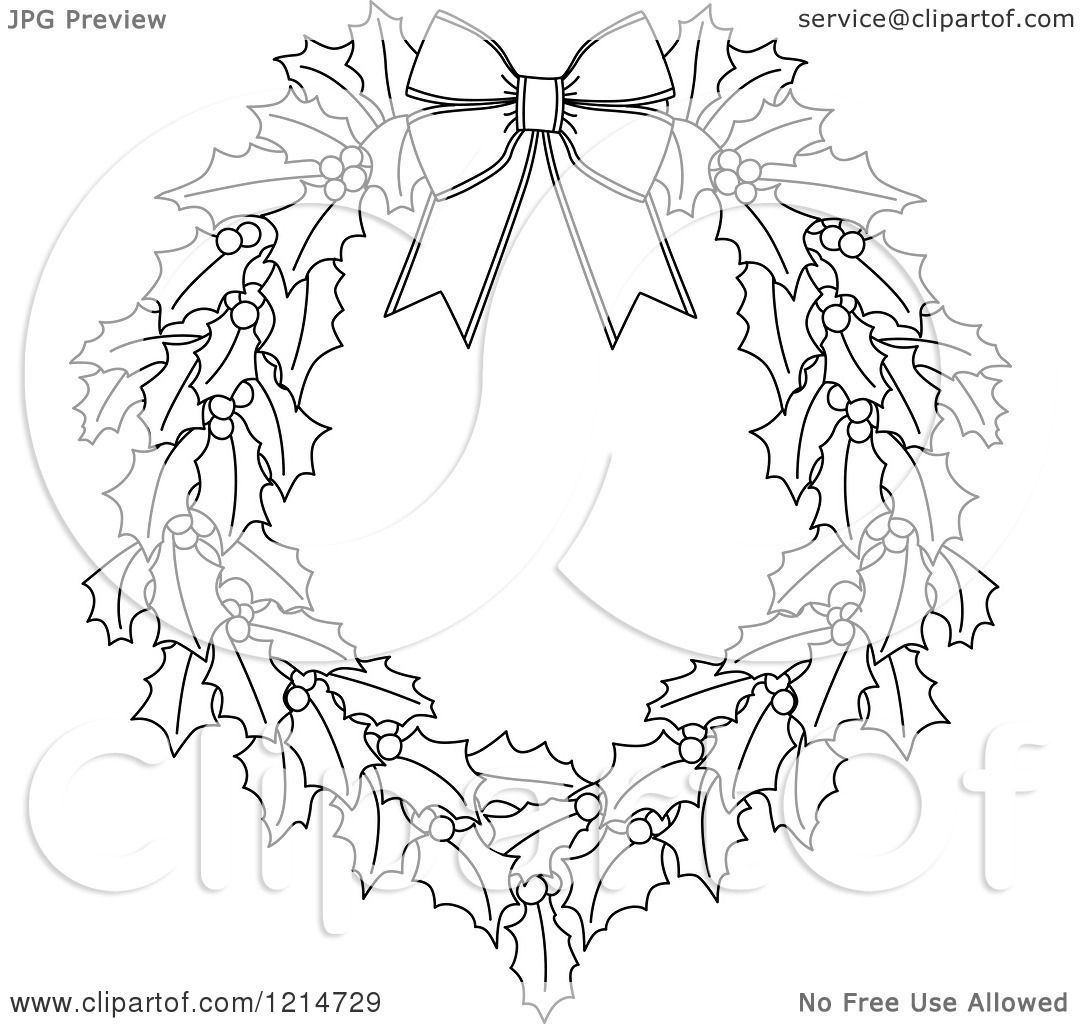 Clipart Of A Black And White Christmas Holly Wreath 3
