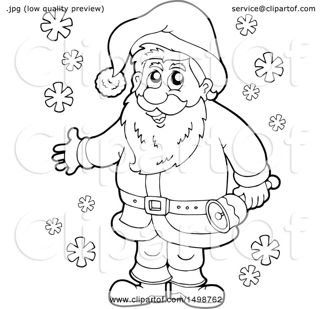 Clipart Of A Black And White Christmas Santa Claus With A