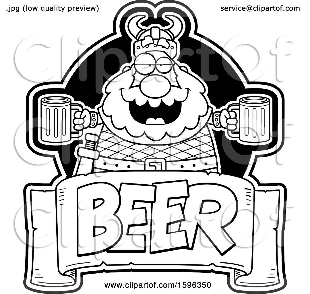 Clipart Of A Black And White Chubby Male Viking Holding