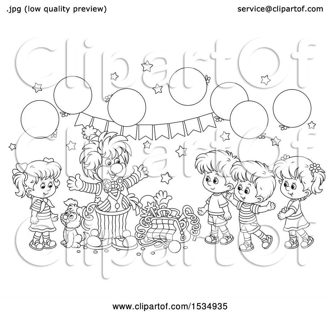 Clipart Of A Black And White Clown Entertaining Kids At A