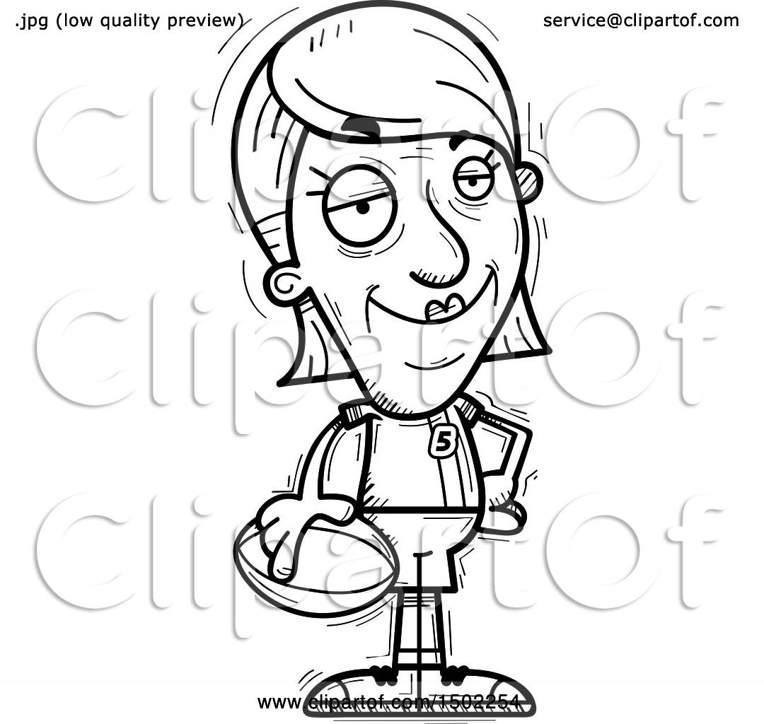 Clipart Of A Black And White Confident Senior Female Rugby