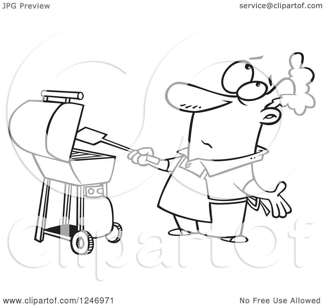 Clipart Of A Black And White Confused Man Flipping A Lost