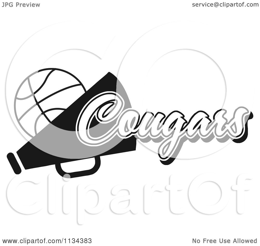 Clipart Of A Black And White Cougars Basketball