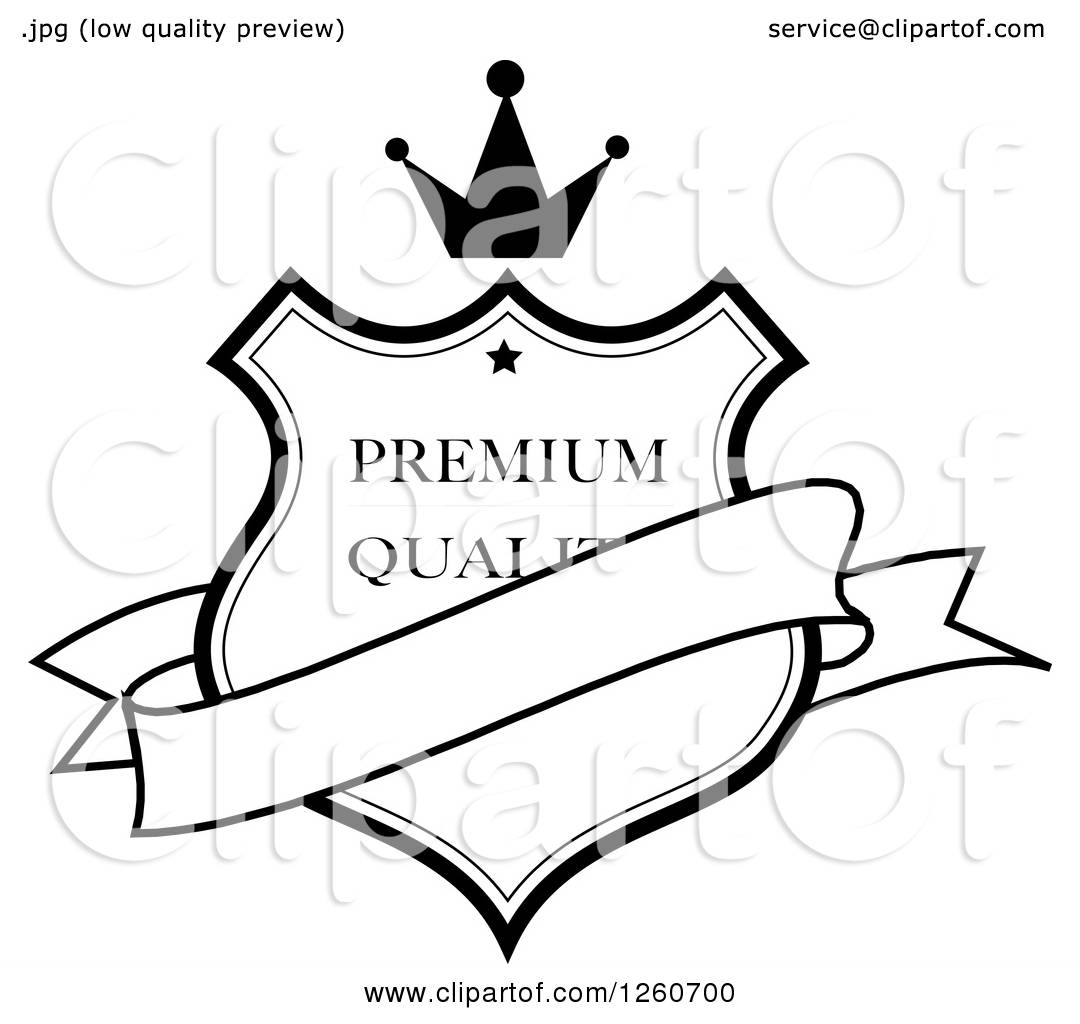 Clipart Of A Black And White Crowned Premium Quality