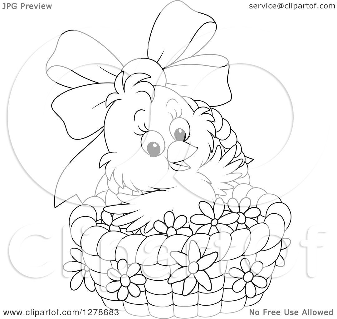 Clipart Of A Black And White Cute Easter Chick In A Basket