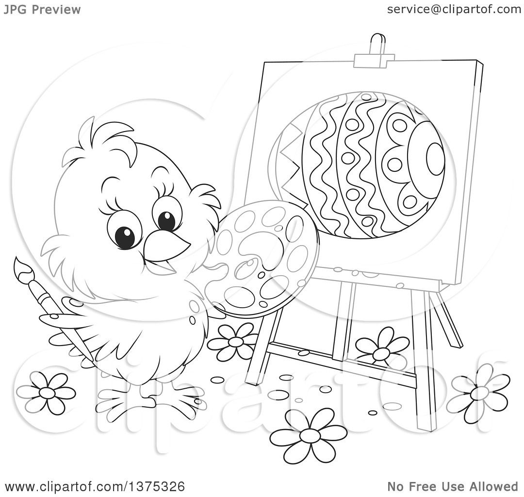 Clipart Of A Black And White Cute Easter Chick Painting An