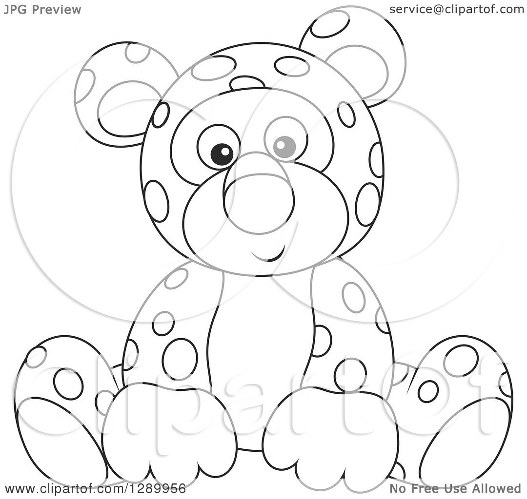 Clipart Of A Black And White Cute Leopard Stuffed Animal