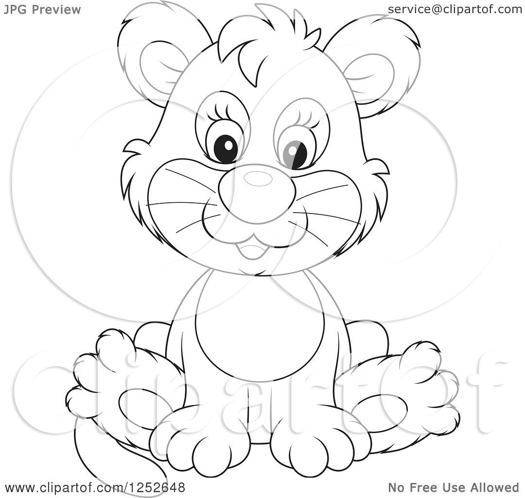 Clipart Of A Black And White Cute Lion Cub Sitting