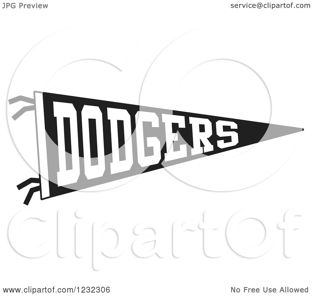 Clipart Of A Black And White Dodgers Team Pennant Flag
