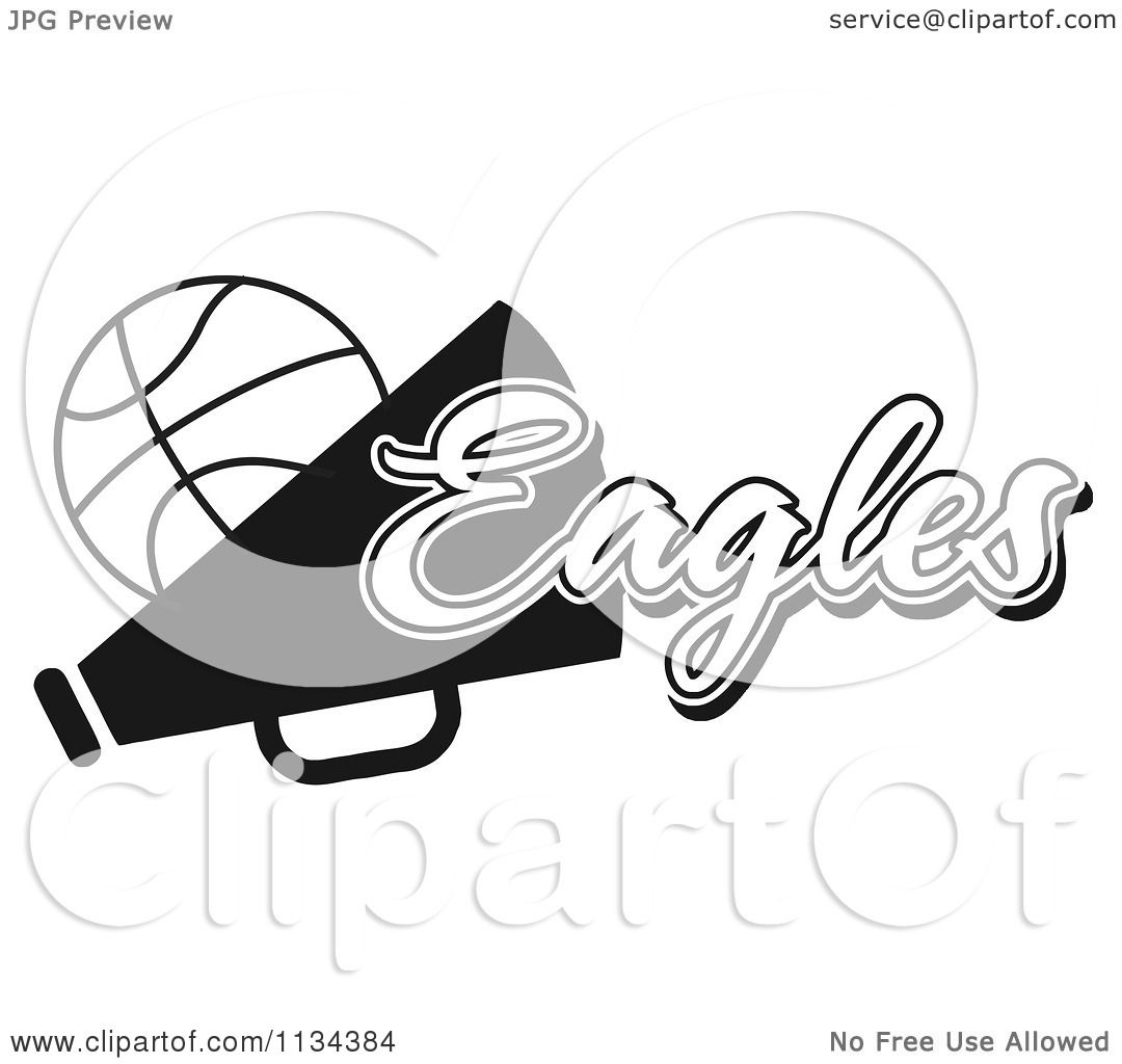 Clipart Of A Black And White Eagles Basketball Cheerleader