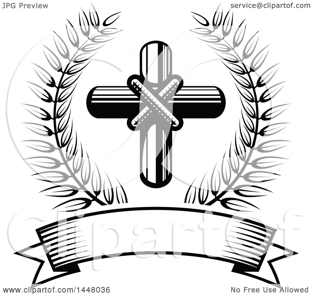 Clipart Of A Black And White Easter Cross In A Wreath Over