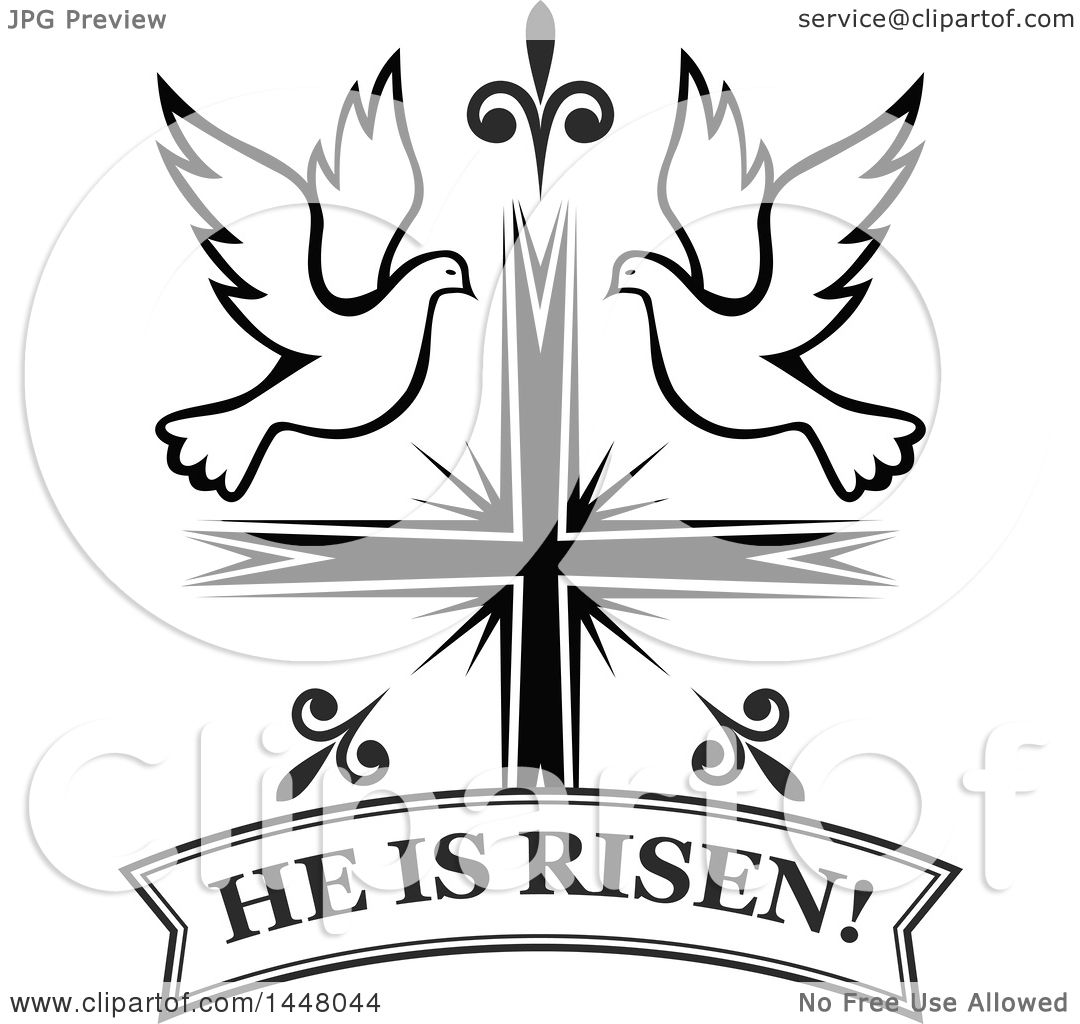 Clipart Of A Black And White Easter Cross With Doves And A