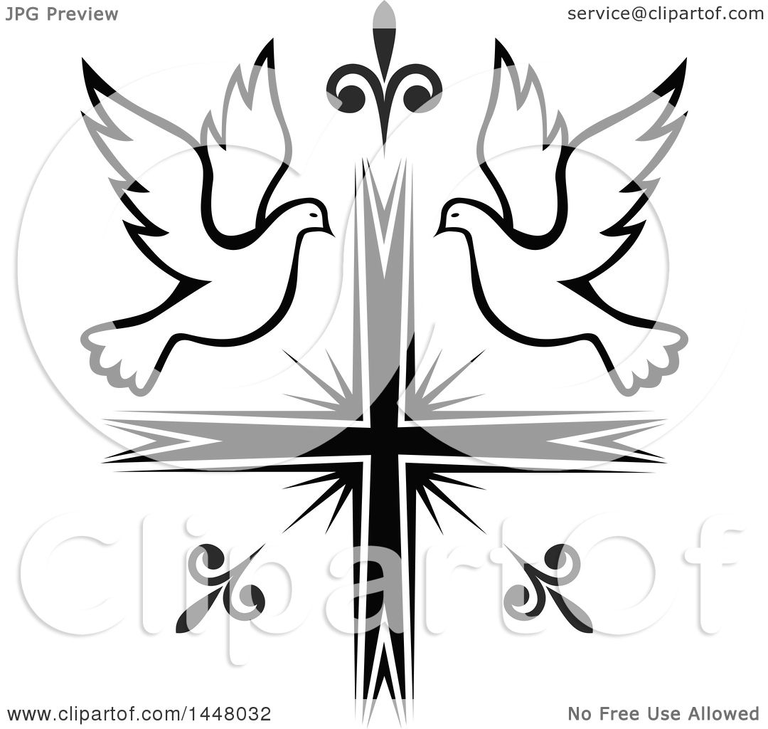 Clipart Of A Black And White Easter Cross With Doves