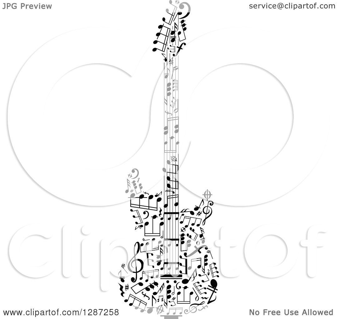 Clipart Of A Black And White Electric Guitar Made Of Notes