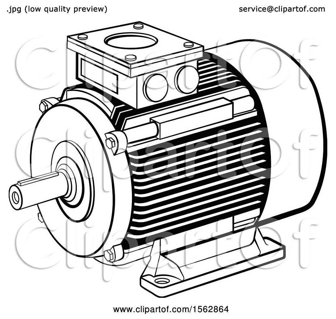 Clipart Of A Black And White Electric Motor