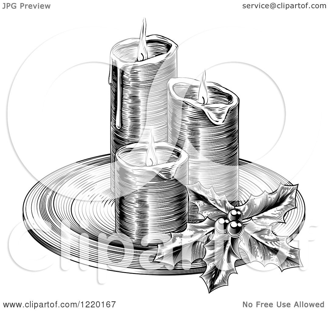 Clipart Of A Black And White Engraving Of Christmas
