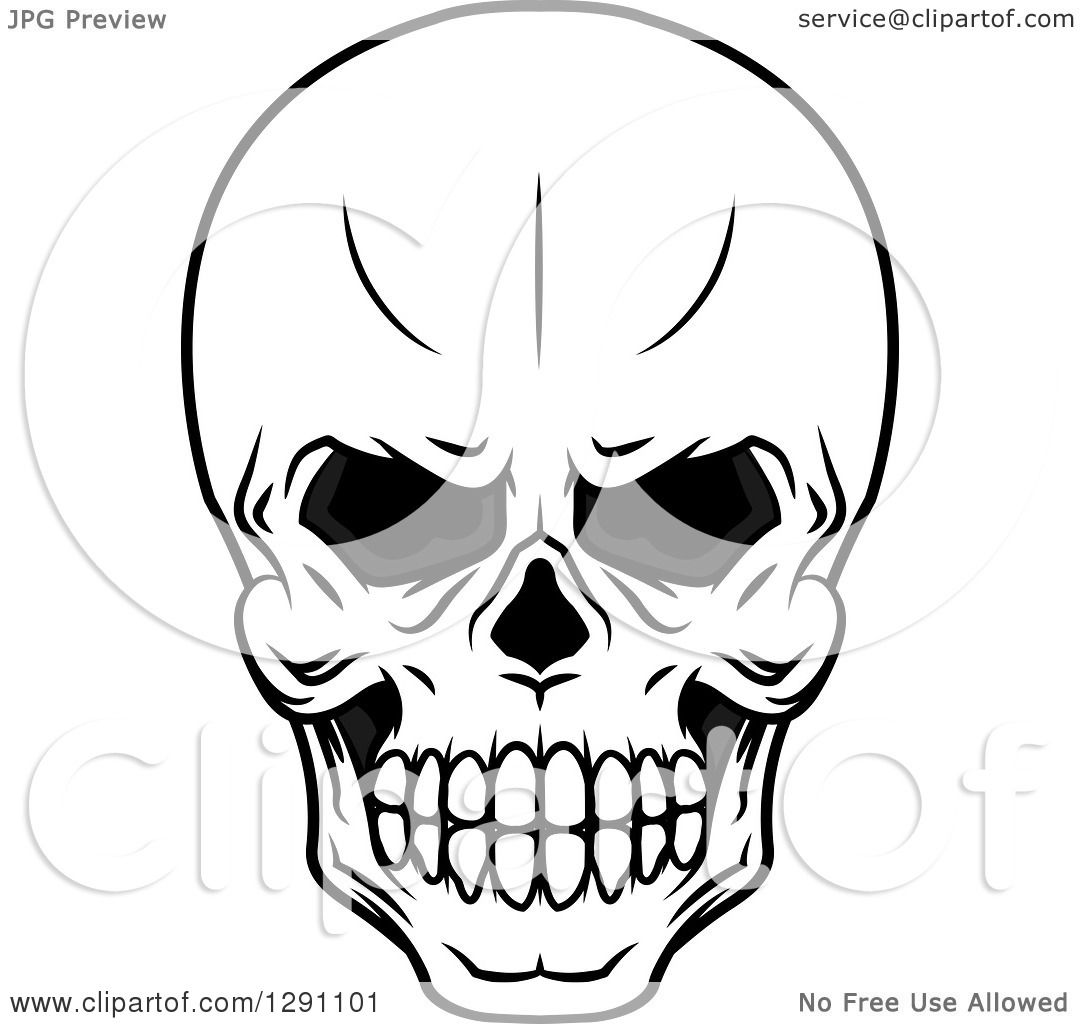 Clipart Of A Black And White Evil Human Skull