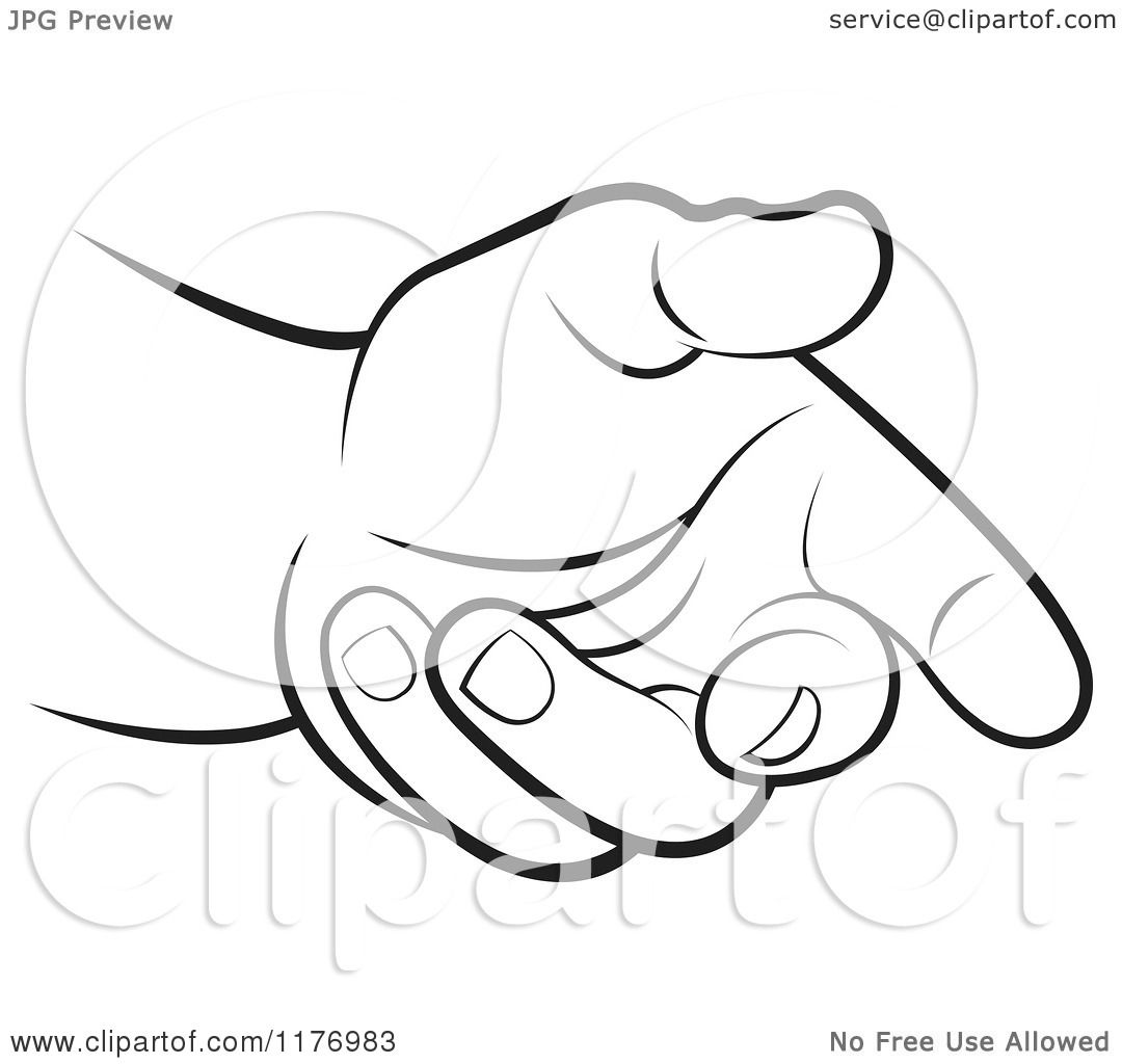Clipart Of A Black And White Extended Offering Hand