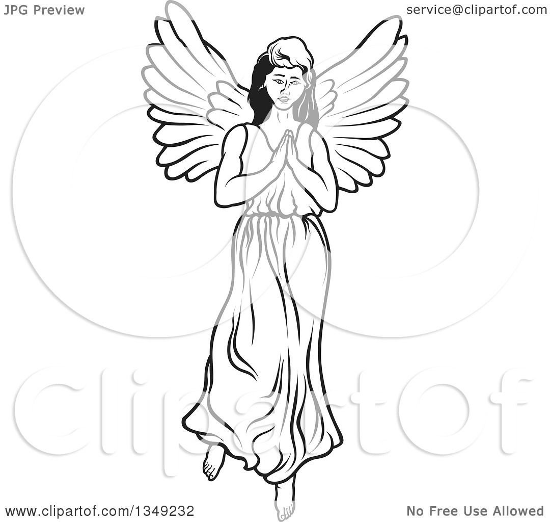 Clipart Of A Black And White Female Angel Praying
