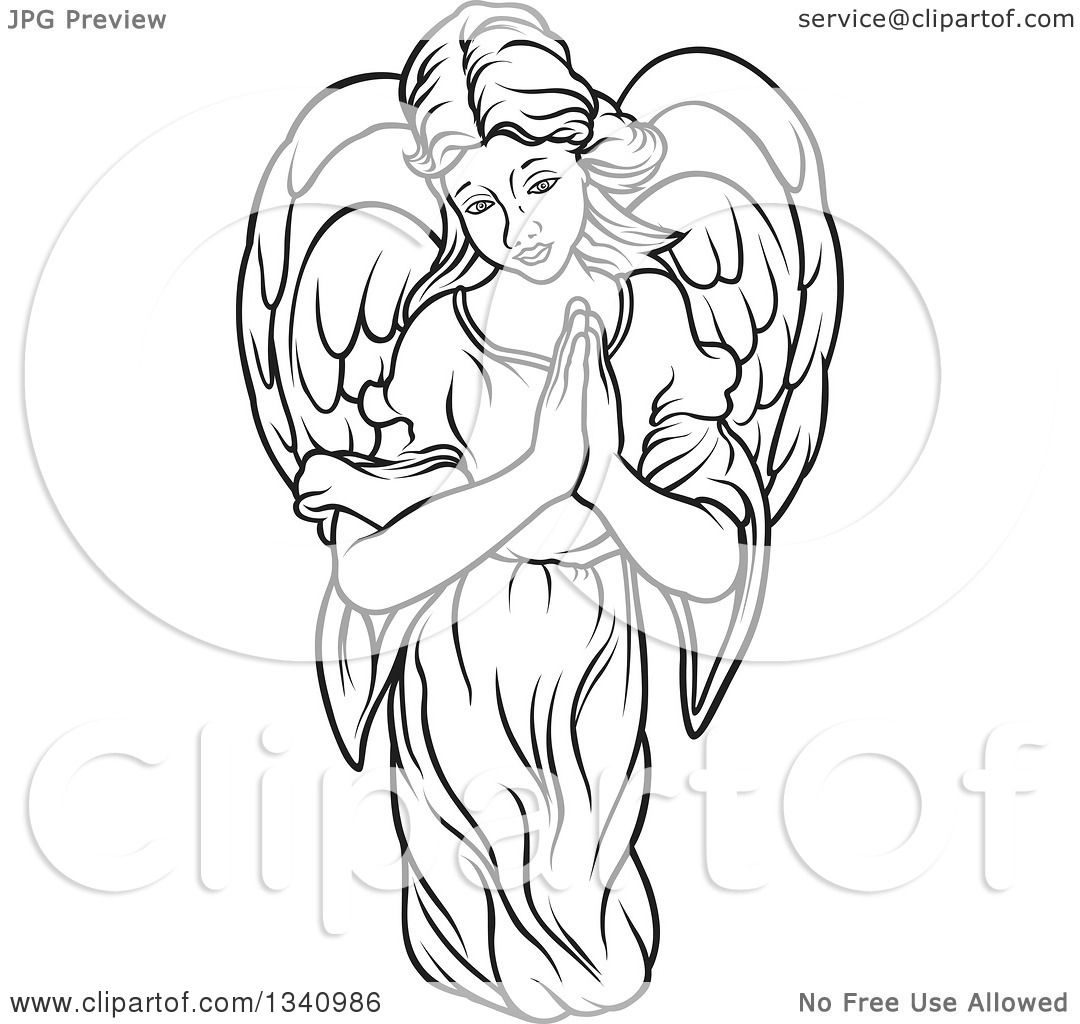 Clipart Of A Black And White Female Angel With Prayer Hands