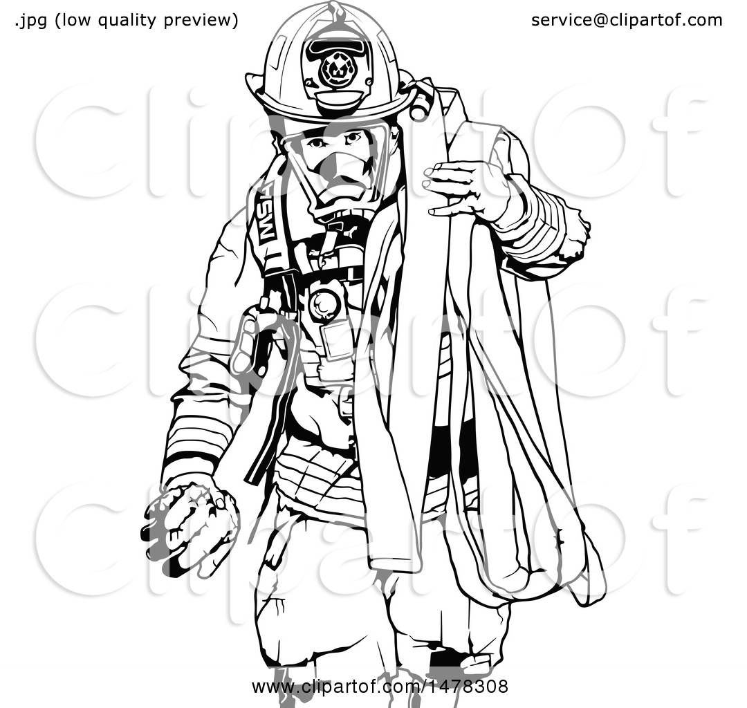 Clipart Of A Black And White Fireman Carrying A Hose