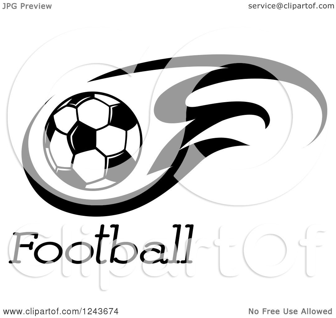 Clipart Of A Black And White Flaming Soccer Ball And