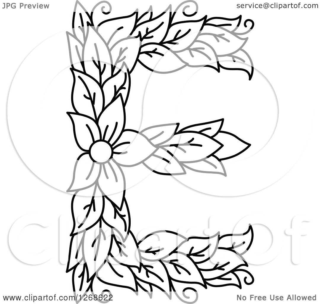 Clipart Of A Black And White Floral Capital Letter E With