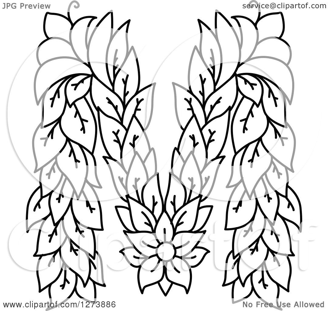 Clipart Of A Black And White Floral Capital Letter M With