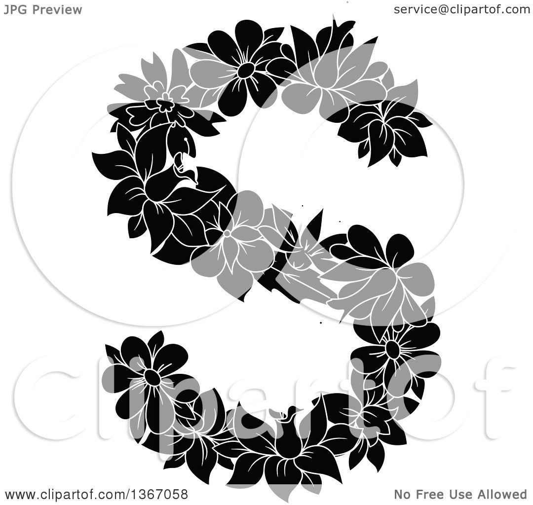Clipart Of A Black And White Floral Lowercase Alphabet
