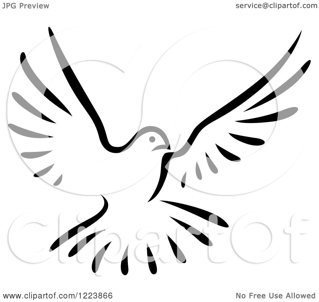 Clipart Of A Black And White Flying Dove 2