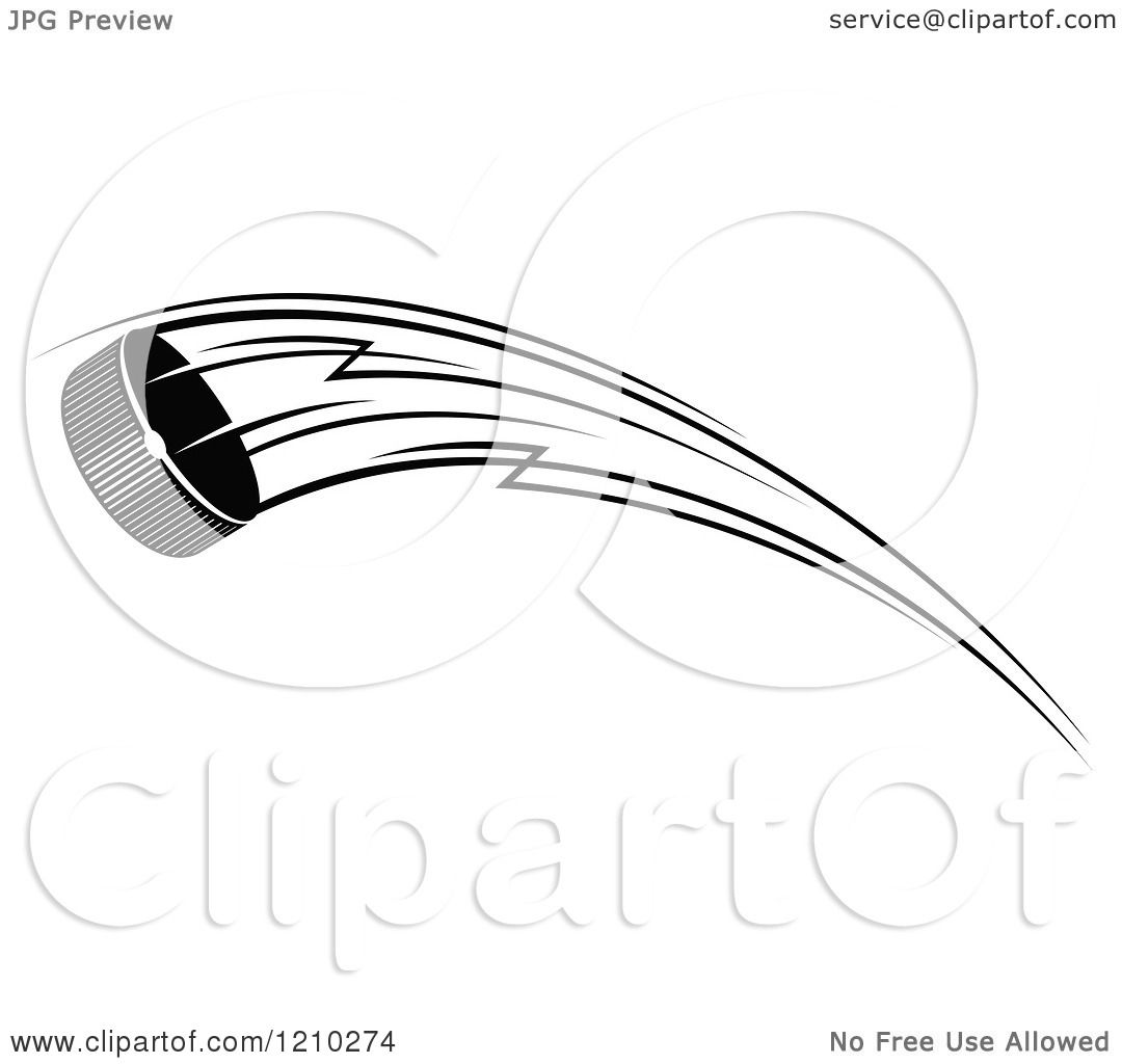 Clipart Of A Black And White Flying Hockey Puck 6