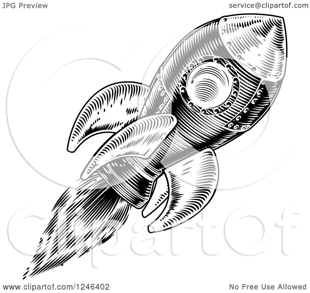 Clipart Of A Black And White Flying Rocket