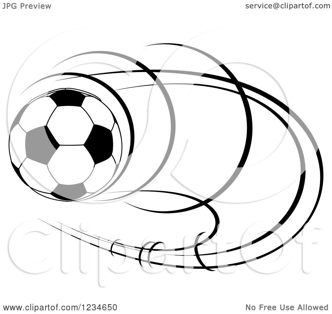 Clipart Of A Black And White Flying Soccer Ball 7