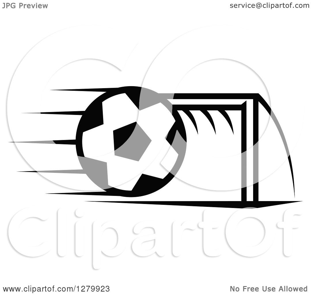 Clipart Of A Black And White Flying Soccer Ball And Goal