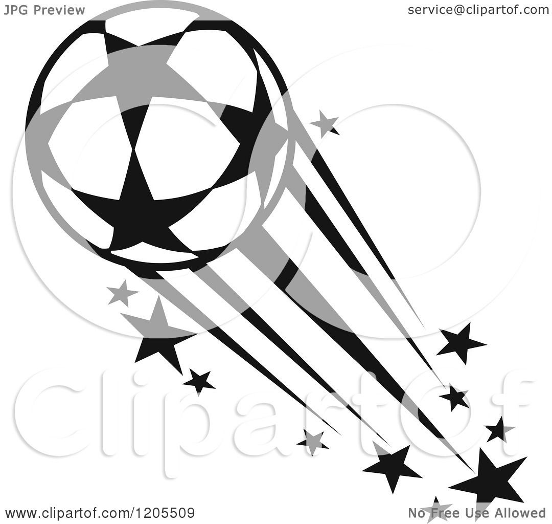 Clipart Of A Black And White Flying Soccer Ball With Stars