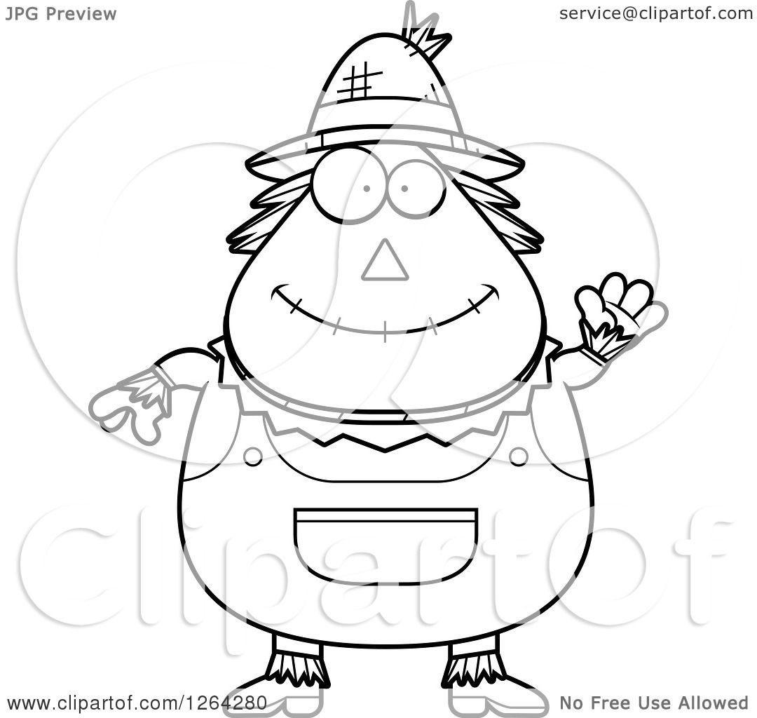 Clipart Of A Black And White Friendly Waving Cartoon Chubby Scarecrow