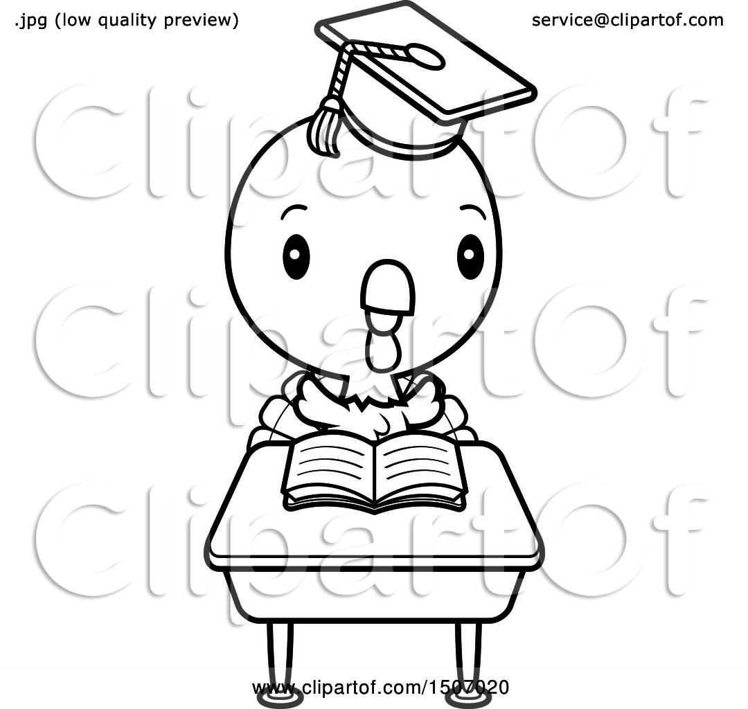 Clipart Of A Black And White Graduate Student Turkey