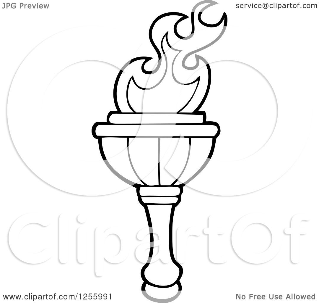 Clipart Of A Black And White Greek Torch